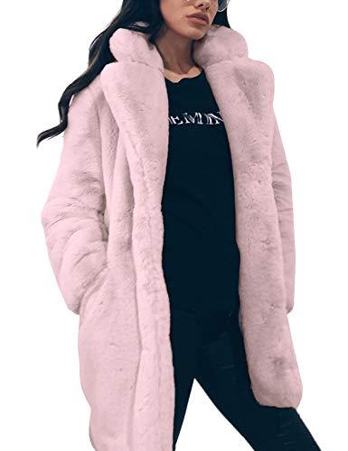 Zonsaoja Damen Kunstpelz Mantel Verdicken Pelzmantel Flaumig Warme Outwear Elegant Winter pink XL