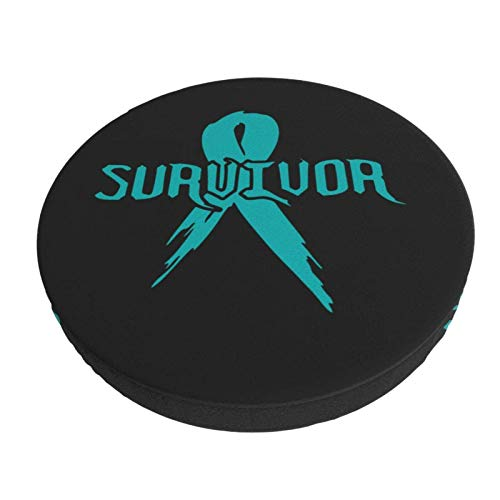 Teal Cancer Survivor Ribbon Removable Washable Round Bar Chair Cushion Cover Elastic Stool Cushion Slipcover 14 Inch