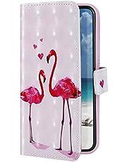 Uposao Funda Compatible con Samsung Galaxy M10 Funda Carcasa Piel Cartera Libro Dibujo 3D Pintado Diseño Glitter Brillante PU Leather Wallet Case para Samsung Galaxy M10,Flamingo Rosa