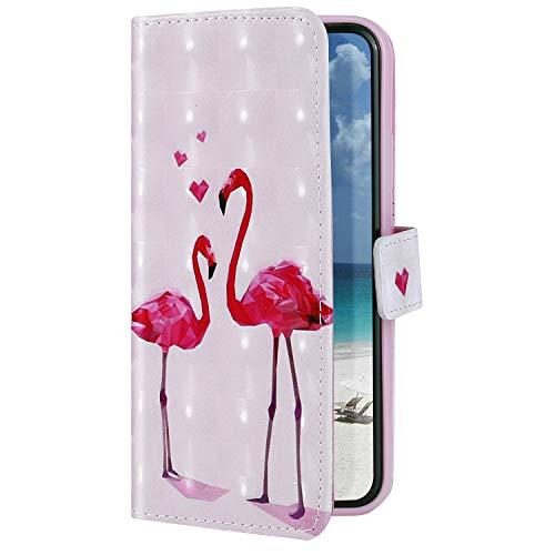 Uposao Funda Compatible con Huawei P9 Lite Mini Funda Carcasa Piel Cartera Libro Dibujo 3D Pintado Diseño Glitter Brillante PU Leather Wallet Case para Huawei P9 Lite Mini,Flamingo Rosa