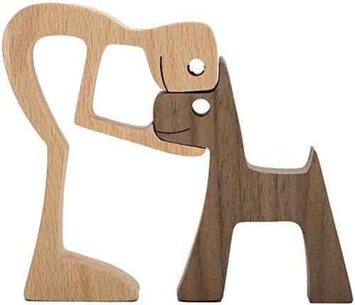 Adornos de talla de madera, diseño de cachorro de familia, artesanía de madera maciza natural, escultura, figura tallada a...
