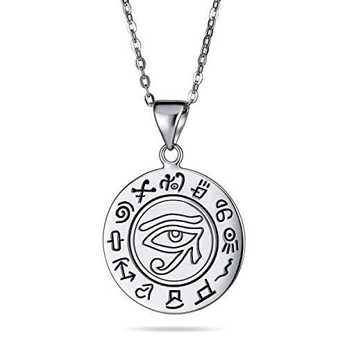 Unisex antiguo talismán símbolo místico egipcio Ra Udjat Horus mal ojo disco medallón collar para las mujeres oxidado 925 plata de ley