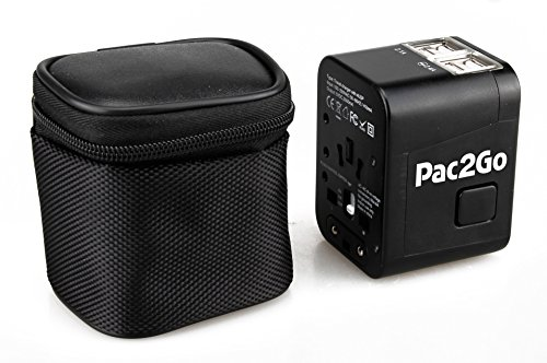 Pac2Go Universal Travel Adapter with Quad USB Charger - All-in-One Surge/Spike...