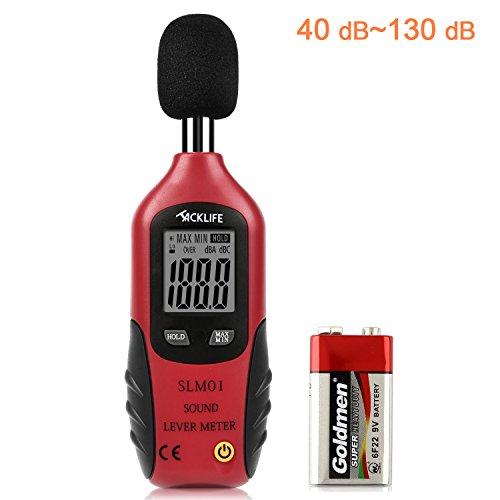 Schallpegelmessgerät, Tacklife SLM01 Klassischer Schallpegelmesser, Lärm Messgerät Datenspeicherfunktion Abschaltautomatik 40~130 dB Rot, LCD-Anzeige, Hintergrundbeleuchtung