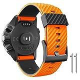 ANBEST Bracelet de rechange compatible avec Suunto 7/Suunto 9, 24 mm Bracelet de montre en silicone pour montre connectée Suunto 9 Baro/Spartan Sport/D5 Orange/noir