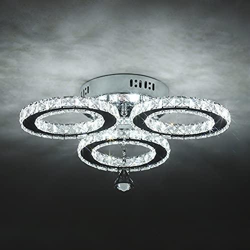 30W Moderna Lámpara Colgante de Cristal LED, 3 Círculo Lámpara de Techo...
