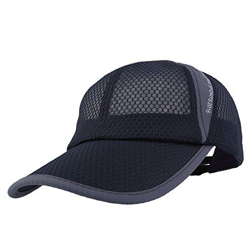 CHIC DIARY Baseball Cap dünn atmungsaktiv Basecap Unisex Kappe Snapback Baumwolle Schirmmütze Verstellbar Sport Outdoor, Dünn Dunkelgrau, Einheitsgröße