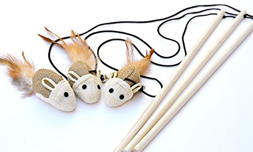 Earthtone Solutions Cat Kitten Teaser Wand Toys, Natural Sisal with Mouse, Bell, Feather, Elastic String, and Sturdy Wood Rod, Interactive Fun, Cat Catcher Mice for Pets, Set of 3