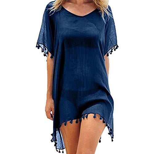 JMITHA damer strandponcho sommar strandklänning sommarklänning bikini baddräkt cover up, Marinblå kupol, M/L