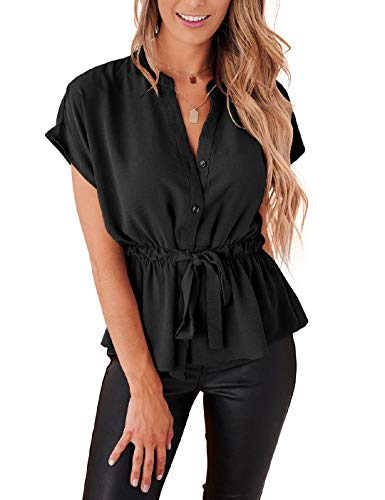 Womens Button Down Blouses Casual Peplum Summer Tops Dressy Chiffon Work Blouse Black