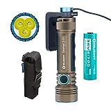 Olight Seeker 2 Pro Taschenlampe 3200 Lumen / 250 Meter 3 LEDs Leistungsstarke wiederaufladbar Seitlicher Schalter LED Taschenlampen, mit 21700 Batterie (Desert Tan)