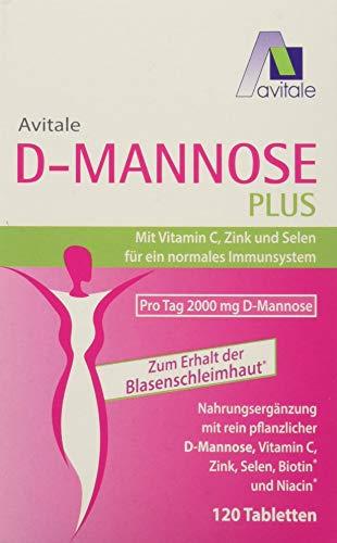 Avitale D-Mannose Plus 2000mg Tabletten mit Niacin und Biotin zur Förderung der Blasenschleimhaut* - Nur 2 Tabletten täglich!, 120 Stück