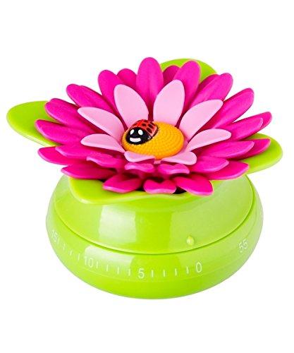 VIGAR Flower Power Kurzzeitwecker für Küche, ABS, Polypropylen, Silikon, grün, 8,5 x 8,5 x 5 cm