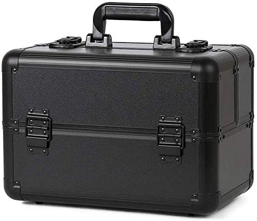 BYCDD Trolley Kosmetikkoffer Aluminium, Portable Déplacement Valise à Cosmétique Trolley à Maquillage Beauty Case,Black