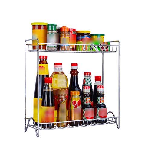 Baldas Apilables para Vajilla y Comida Estantería Estante de Almacenamiento de condimentos Cocina Estante de Especias Hogar Aceite de Acero Inoxidable Salsa de Sal Vinagre Estante de Almacenamiento