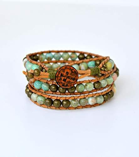 Pulsera de piedras naturales azules artesanal, regalo para mujer