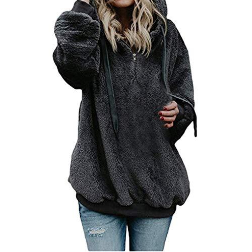 Dorical Damen Herbst Winter Kapuzenpullover Bequem Lässig Mode Jacke Frauen Mode Frauen Coat Outwear Mantel Flauschige Tops Mit Kapuze Taschen Lose Mantel Gr S-5XL(Z02-Dunkelgrau,XXXX-Large)