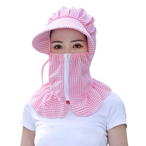 LUOEM Gesichtsschutz Kappe Sommermütze Nackenschutz Staubdicht Windschutz Schutzkappe Sonnenschutz Hut für Motorrad Fahrrad Fischen (Pink)