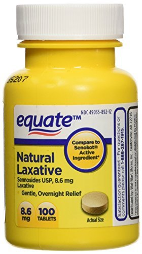 Equate Natural Vegetable Laxative, Sennosides 8.6 mg Tablets, 100-Count Bottle by Equate