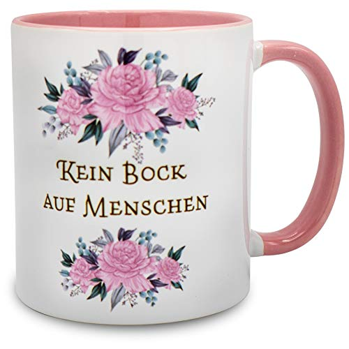 Exklusive Tasse mit Spruch - Kein Bock auf Menschen - Der Limitierte Kaffeebecher fürs Wichteln, Weihnachten oder Geburtstagen - Spülmaschinenfeste Tasse