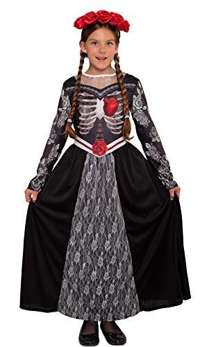 Magicoo - Costume da principessa messicana, per bambina, con vestito e cerchietto, taglie da 110 a 140, costume da vampiro per Halloween, costume da strega (110/116)