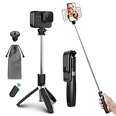 ELEGIANT Selfie Stick Tripod, 39.4 Inch Extendable Selfie Stick Tripod Stand with Wireless Remote Compatible with iPhone 12 11PRO XS Max XS XR X 8P 7P, Galaxy S20 S10 S9 S8, Gopro, Small Camera, Black by ELEGIANT