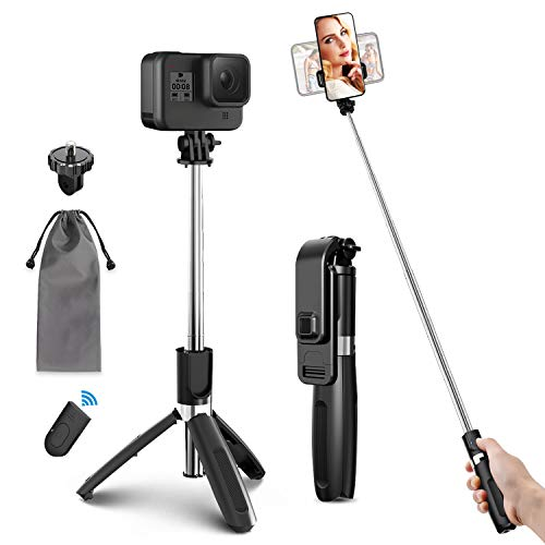 ELEGIANT Selfie Stick Tripod, 39.4 Inch Extendable Selfie Stick Tripod Stand with Wireless Remote Compatible with iPhone 12 11PRO XS Max XS XR X 8P 7P, Galaxy S20 S10 S9 S8, Gopro, Small Camera, Black