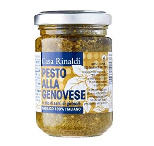 Casa Rinaldi Salsa de pesto en aceite vegetal de 130 g – tradicionalmente consiste en ajo triturado, piñones, sal gruesa, albahaca, queso parmesano y queso hecho de leche de oveja.