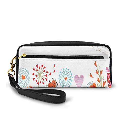 Pencil Case Pen Bag Pouch Stationary,Romantic Design with Flowers Hearts Birds and Leaves Stripes Lines Artwork Print,Small Makeup Bag Coin Purse