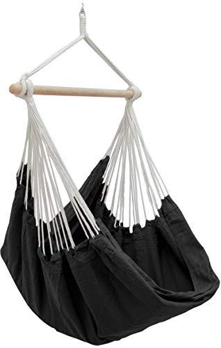 AMANKA XXL Siège Suspendu en Toile de Coton 185x130cm hamac pour s'asseoir Noir