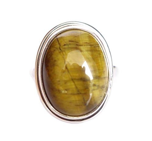 Natural Tiger Eye Gemstone Handmade 925 Anillo DE Plata ESTERLINA para Mujeres/Hombres por Plata TIBETANA