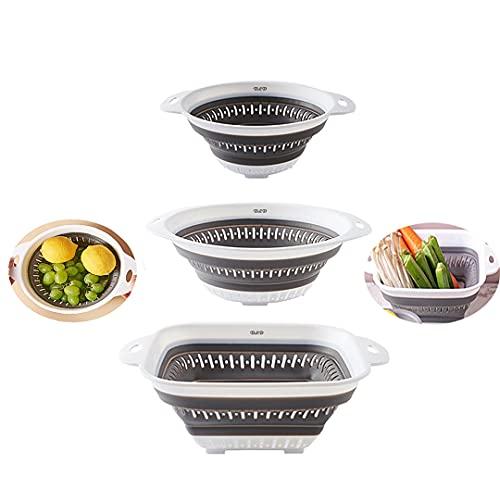 Colador plegable, colador sobre el fregadero, colador de verduras, colador de frutas y coladores con asas extensibles, colador plegable para cocina, 3 piezas (gris)