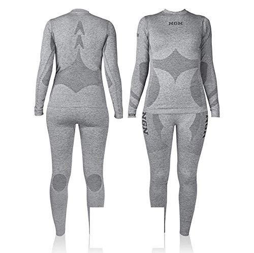 NGN Skiunterwäsche Damen aus Norwegen | Thermo-Unterwäsche Lang | Funktionswäsche Atmungsaktiv Schwarz | Schöne Skibekleidung | Baselayer Set for Woman | Sport Hose und Shirt für Frauen (M/L Grau)