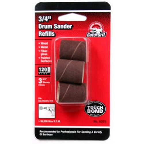 Gator Finishing 6076 120 Grit Aluminum Oxide Drum Sanding Sleeves (3 pack), 0.75