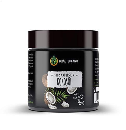 Kräuterland - Kosmetik Kokosöl 180ml Glastiegel - 100% rein, bio, kaltgepresst, unraffiniert - Naturkosmetik für Gesicht, Körper, Haut und Haare - wertvolle Laurinsäure 52,3%(Kokosöl 180ml)