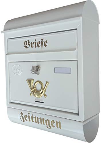 R&D Stabiler Briefkasten, Modell Runddach Premium-Qualität, mit Schutzlackierung Verschiedene Modelle XXL Weiß mit Zeitungsrolle fertig montiert Postkasten Post (Runddach)