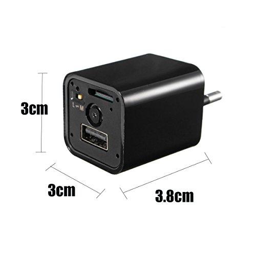 KOBERT GOODS Getarnte Full HD 1080P Überwachungs-Kamera M1B versteckt in Ladegerät Spionage-Camera für Video-Aufnahme inkl. Ton auf Micro SD Karte und Bewegungs-Erkennung sowie USB Lade-Funktion