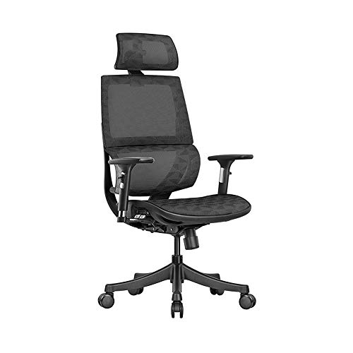 17' to 20' Adjustable Seat Height, Large Headrest, Ergonomic Office Chair, Arc-Shaped Lumbar Support