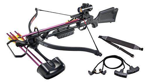 Leader Accessories Crossbow Package 160lbs 210fps Archery Equipment Hunting Bow with Quiver and 4pcs of Aluminum Arrow, Black