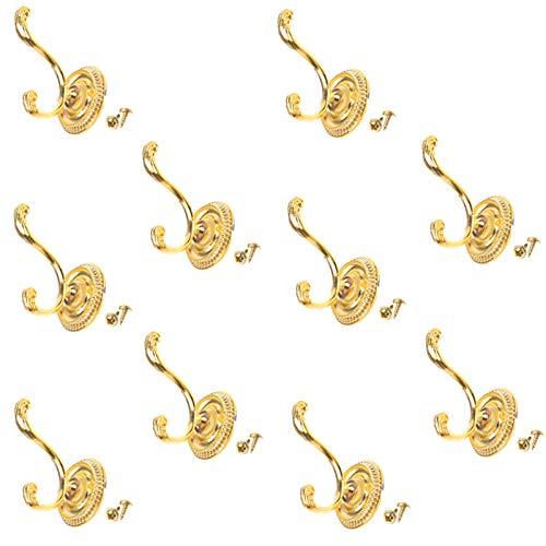 LEZED Perchas de Ganchos Metálicos de Bronce Vintage Perchero de Ganchos de Pared Rústico Ganchos Colgadores para Ropa Bolsa Sombrero Cocina Baño Dormitorio Lavabos Armarios 10 piezas (Dorado)