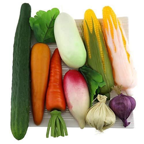 Gresorth Fälschung Gemischt Gemüse Künstlich Karotte Mais Knoblauch Gurke Zuhause Party Küche Dekoration