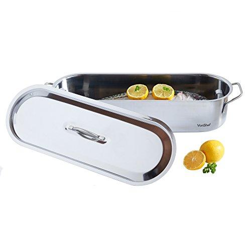 Shef - Cazuela para cocinar pescado (acero inoxidable, 45 cm)