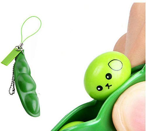 Squeeze-a-Bean Squishy Soybean Pendants Toys with Reduce Anxiety and Stress, Fidget Toys Squeeze-a-Bean Keychain Pendants Cellphone Chain Peas
