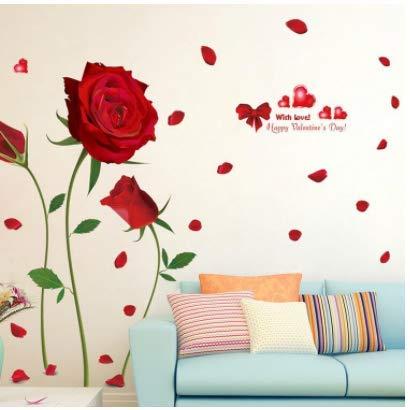 Unbekannt Neue abnehmbare rote Rose Leben ist die Blume Zitat wandaufkleber Aufkleber Home Room Art Decor DIY romantische herrlich