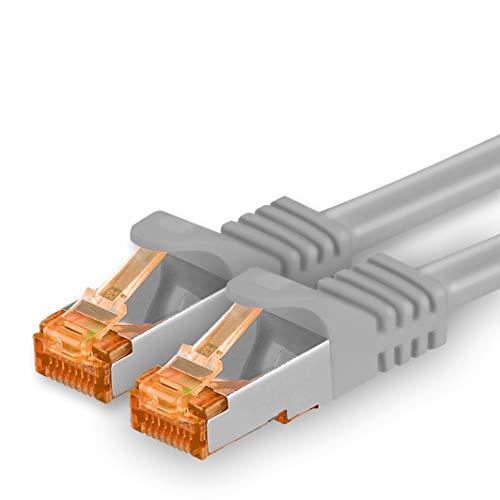 5m - Cat.7 Netzwerkkabel Grau - 1 Stück Gigabit Ethernet LAN Kabel 10000 Mbit s Patchkabel Cat7 Kabel S FTP PIMF Schirmung LSZH Cat.7 Rohkabel Rj45 Stecker Cat 6a - 1 x 5 Meter
