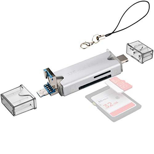 JJC Metall USB 3.0 Kartenleser mit USB 3.0, Micro USB 2.0 und Typ-C USB 3.0 Ports für SDXC, SDHC, SD, Micro SD, Micro SDXC, Micro SDHC für Micro OTG/USB-C OTG fähige Handys oder Tablets (Silber)