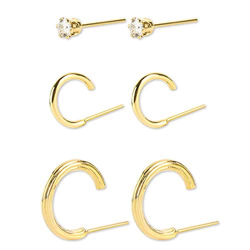 FENRIR 3 Pares Plata de ley 925 para Mujeres, 10mm/15mm de Acero Inoxidable Clip Pendientes de Esmalte Piercing Ear Bisel Redondo Cool Stud Pendientes de perforación para Mujeres Hombres