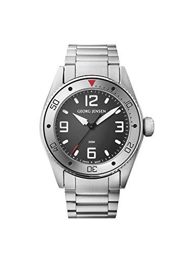 Georg Jensen Herrenuhr Quarz Metallband GMT Nummer 3575603 Delta Dive 42mm