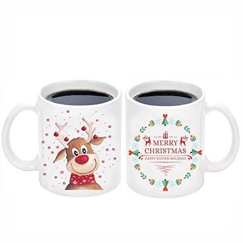 Christmas Coffee Mug with Christmas Reindeer elk deer Merry Christmas Mug Happy Winter Holidays Gifts Whit Christmas Cup Christmas Gifts for Friends Men Women Father Mother Coffee Mugs for XMAS 11Oz