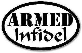 JR Studio 3x5 inch Oval Armed Infidel Sticker -us no Gun Ammo NRA Military Proud Anti isis Vinyl Decal Sticker Car Waterproof Car Decal Bumper Sticker